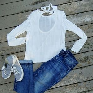 H&M white knit long sleeve top